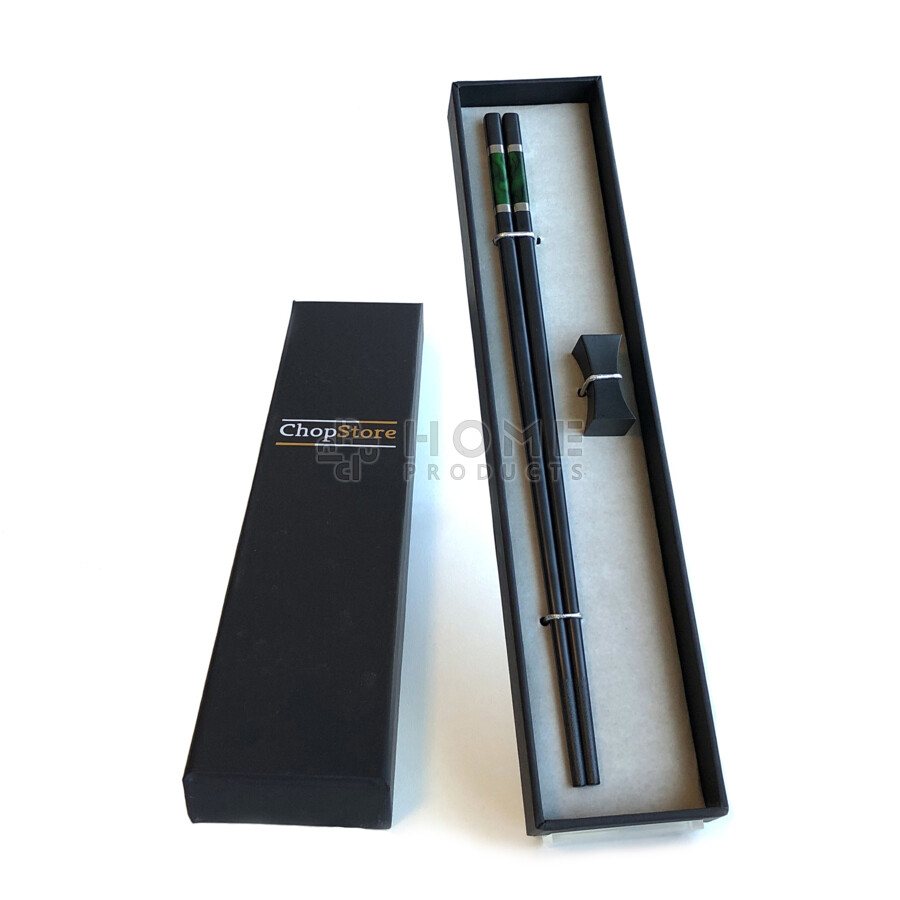 Bungo Dark Green chopsticks in cadeauverpakking (1 setje chopsticks + 1 rest)